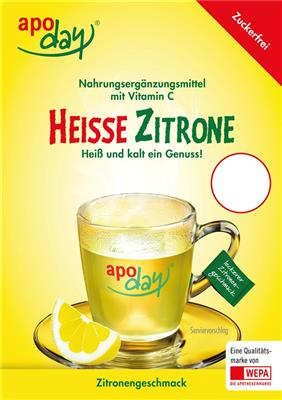 <p>apoday<sup>®</sup> Heisse Zitrone zuckerfrei Top-Schild</p>