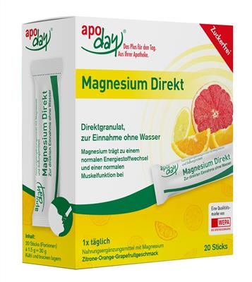 <p>apoday<sup>®</sup> Magnesium Direkt Stick  20er Pack.</p>